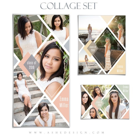 Senior collage template set diamonds 3 photoshop collage for Free senior templates for photoshop