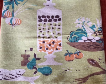Vintage Salad Theme Cotton, Linen Dish Tea Towel Cloth with Veggie, Fish, Olive Jar, and Utensils Design 60s 70s