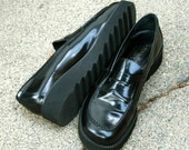 On Hold...Vintage 90s Black Leather platform Loafers Donald J Pliner Grunge 8