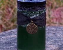 WITCH'S MAGIC MONEY™ Double Action Black Over Green Pillar Candle w/ French Coin Charm for Rituals to Remove Obstacles & Draw Prosperity
