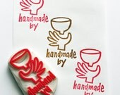 handmade by personalized stamp. custom made name stamp. craft stamp for ceramic artists, makers. gift wrapping. scrapbooking. stationery