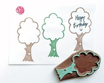 love tree stamp. woodland hand carved rubber stamp. birthday thank you notes. holiday scrapbooking. diy gift wraps. nature lover gift