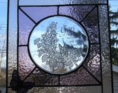 Stained Glass Vintage Plate Suncatcher/Panel with 3D Butterfly One of a Kind