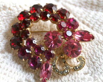 Vintage Weiss Red Pink and Clear Rhinestone Brooch Gold Metal Signed Weiss