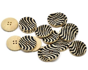 Zebra Pattern Wooden Sewing Buttons 30mm - Natural and Black wood button set of 6  (BB105E)