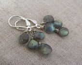 Labradorite Earrings, Labradorite Dangle Earrings, Labradorite Cluster Earrings, Labradorite and Sterling Silver Earrings,