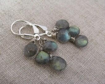 Labradorite Earrings, Labradorite Dangle Earrings, Labradorite Cluster Earrings, Labradorite and Sterling Silver Earrings,