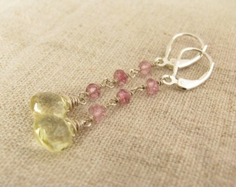 Lemon Quartz and Pink Topaz Earrings Pink Lemonade Earrings Yellow and Pink Gemstone Earrings Yellow and Pink Earrings