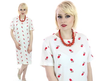 60s Embroidered Dress Vintage Red Rose Mod Aline 1960s Vintage Boho Medium M Large L