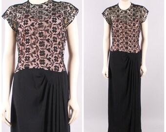 vintage 1930s black illusion lace draped dress antique jazz age flapper wedding gown art deco party size small