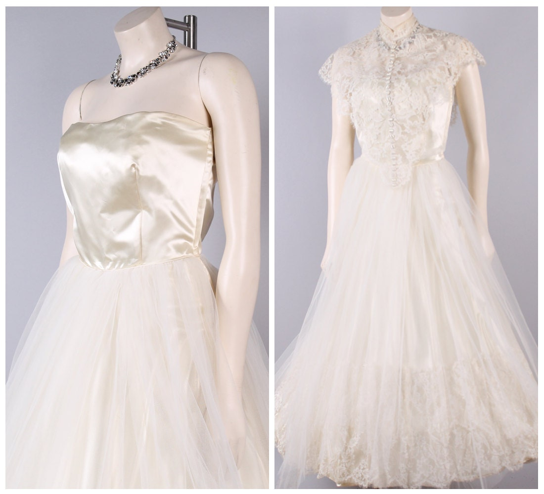 vintage 50s princess satin strapless wedding dress full tulle