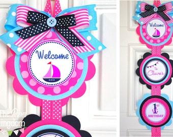 Nautical Door Sign, Nautical Birthday Party, Nautical Girl Baby Shower, XL Vertical Door Sign in Navy, Pink and Light blue