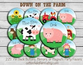 """Down on the Farm Party Favors 2.25"""" Pin Back Buttons, Mirrors, or Magnets, Set of 12, Showers, Birthday Parties"""