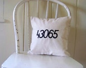 zip code pillow cover/ embroidered/ personalized gift / custom / number / personalized zip code / city / state / housewarming / home