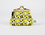 Frame purse - Chibi panda in yellow - Deep baby / Tiny metal frame coin purse / Kawaii japanese fabric / Cute panda / Black and white