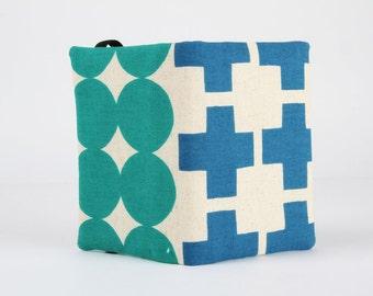 Fabric card holder - Geometry / Ellen Luckett Baker / Blue plus / Blue cross / Teal dots / Green circles / aqua mint / Modern Bold
