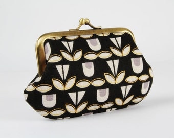 Frame purse - Blooms in black - Daddy purse / Japanese fabric / Ellen Luckett Baker / Metallic gold print / Grey Natural flowers and leaves