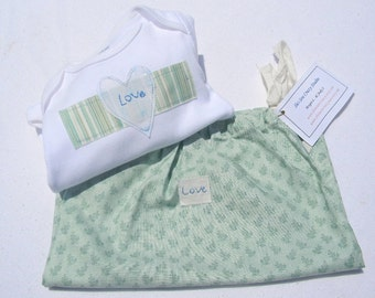Hand Embroidered Love Bodysuit and Wet Sack- Gender Neutral Newborn Gift Set- Handmade Baby Gift
