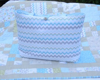 Blue and White Chevron Quilted Diaper Bag for Baby-Baby Bag- quilted Tote Bag- Weekend Bag- Quilted Purse