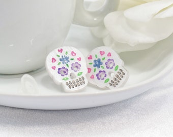 Multicolor Purple and Blue Hand-Painted Pearl White Sugar Skull Post Earring