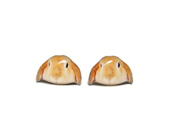 Little Yellowish Brown Mini Lop Rabbit Stud Earrings - A025ER-E07 Made to Order