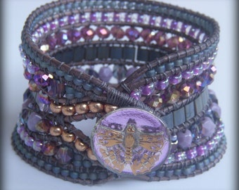SALE Handwoven Beaded Gray Leather Cuff 320+ Beads 7 rows Handpainted Czech Glass Butterfly Button
