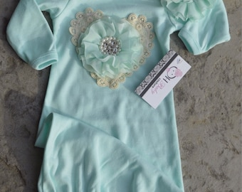 Take me Home Outfit Mint Gown Set with Vintage lace for Infant Newborn photo prop Wedding Baptisim  an Oh BABy Original