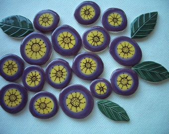 20E - UNUSUAL PURPLE Flowers, Leaves Set - Ceramic Mosaic Tiles