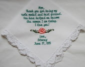 Thank You For Being My Role Model -Gift To Mom From Bride- Embroidered Wedding Handkerchief