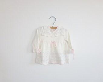 Vintage Cream Knit Baby Dress