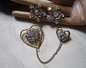 Vintage feminine double heart pin earrings set, heart jewelry aurora borealis crystals, double lattice hearts pin screw back earrings set