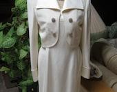 Vintage ivory silk dress jacket set, off white rhinestone studs short dress jacket outfit, beige formal 2 piece cocktail dress suit Saks 5th