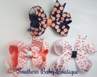 New Item----Simple Medium 3 Inch Hair Bow----Coral Seahorse----You Pick Color