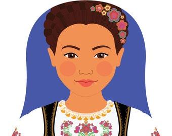 Serbian Wall Art Print features culturally traditional dress drawn in a Russian matryoshka nesting doll shape