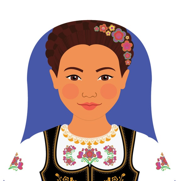 Serbian Wall Art Print features culturally traditional dress drawn in a Russian matryoshka nesting doll shape