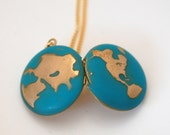 Locket Necklace World Globe Map Jewelry Locket Necklace Planet Earth Jewelry Brass Gold on Long Chain Galaxy Turquoise Ocean Sea Hemisphere