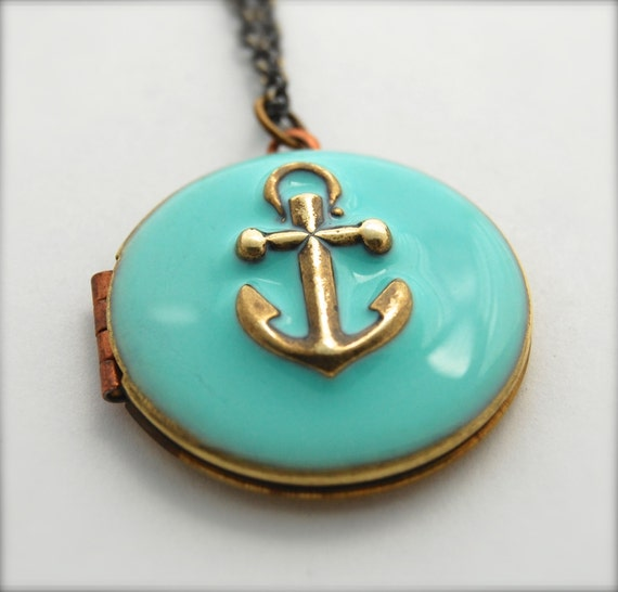anchor necklace locket vintage custom enamel jewelry anchors