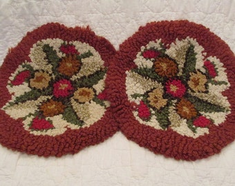 Vintage Hooked Chair Pads 2 matching set