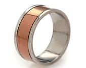 14k Rose Gold Men's Wedding Band, Rose Gold Band Ring, Mens Gold Band, Alternative Wedding Band for Men, Sterling Silver Gold Band