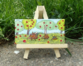 Three Little Hedgehogs, Original Mini Painting with Easel