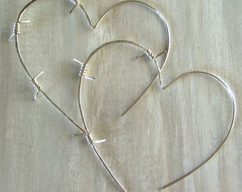 Heart Hoop Earrings, Barbed Wire, Sterling Silver - Tough Love Barbed Wire Earrings
