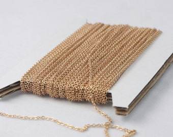 RAW Brass Chain Bulk Chain, 10 ft of Tiny Flat Soldered Necklace Wholesale Cable Chain - 2x1.4mm - Free Adequate Jumpring 50pcs