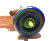 Spinning Top with Launcher green/blue with red dots