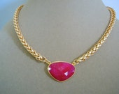 Crimson -- Ruby and Gold Snake Chain Necklace