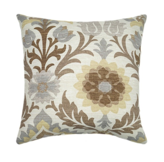 Items similar to Outdoor Throw Pillow, Waverly Santa Maria Moonstone Pillow, Floral Brown Tan ...