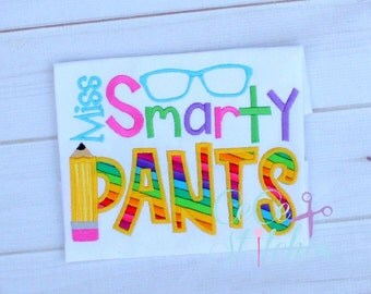 Miss Smarty Pants Applique Embroidery Design