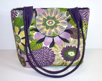 Purse Shoulder Bag Medium-Sized Flap Quilted Purple and Lime Green Floral Double Straps Pockets Zipper Magnetic Snap Ready to Ship
