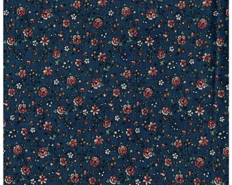 3/4 Yard Remnant Cotton Fabric Marcus Bros Textiles Blue Rose Color Pink Flowers Sewing Materal Crafting Supply