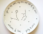 custom hand painted personalized astrological ceramic wedding platter