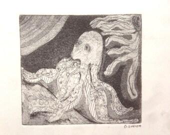 Octopus Intaglio print